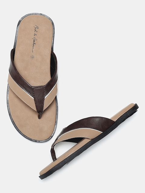 Mast & Harbour Men Beige & Brown Colourblocked Comfort Sandals