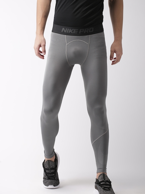 Nike Men Grey Solid AS M NP TGHT HBR 2 Dri-FIT Tights