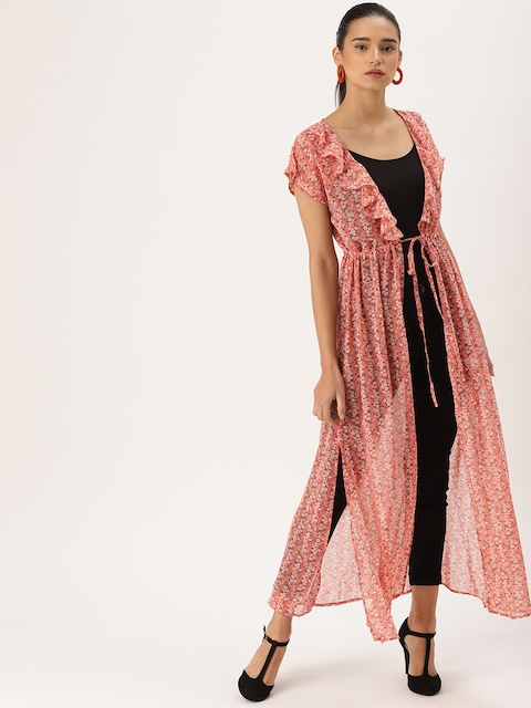 DressBerry Women Pink & White Printed Tie-Up Shrug