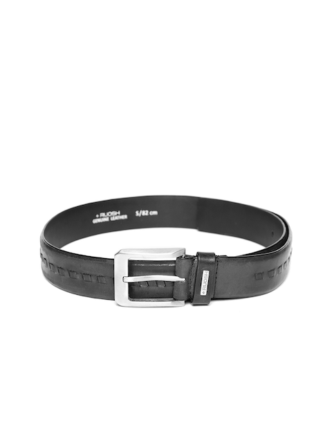 Ruosh Men Black Braided Detail Leather Belt
