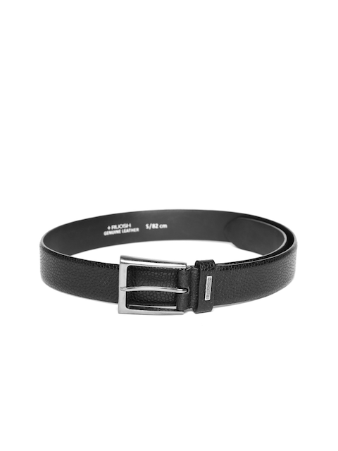 Ruosh Men Black Textured Leather Belt
