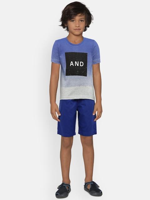 Sweet Dreams Boys Blue & Grey Printed T-shirt with Shorts