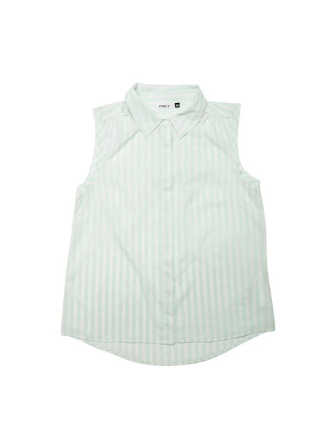 ONLY Women Off-White & Green Striped Casual Shirt
