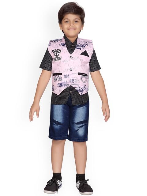Kidling Boys Pink & Black Printed Shirt with Shorts