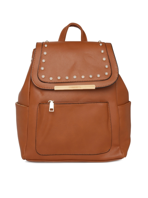 DressBerry Women Tan Brown Solid Backpack