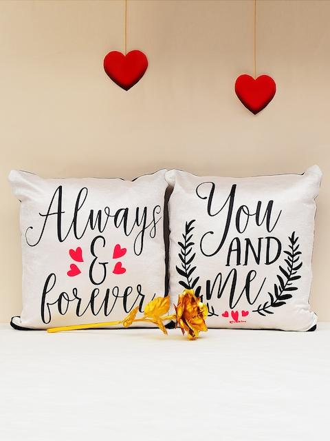 Archies Set of 2 Multicoloured Printed Cushions & 24K Golden Rose Set