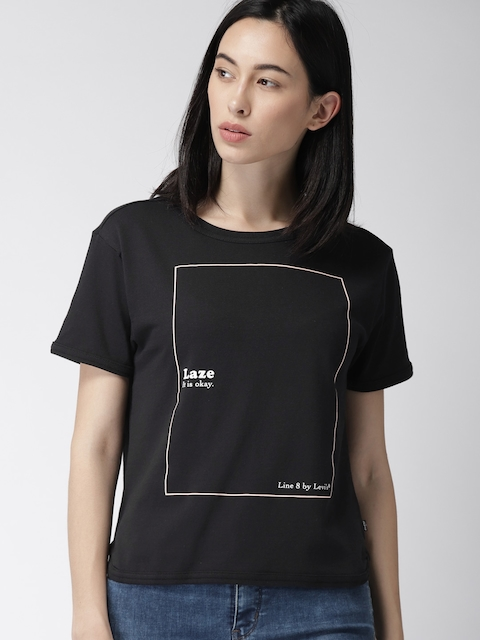Levis Women Black Printed Round Neck T-shirt