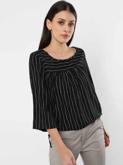 Levis Women Black Striped Empire Top