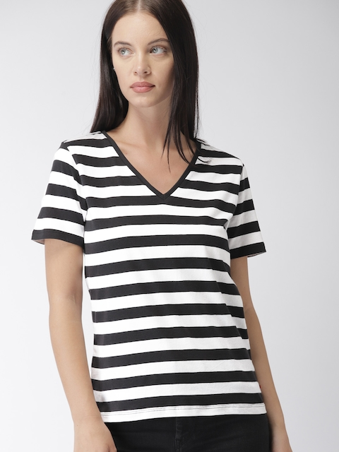 Levis Women Black & White Striped V-Neck T-shirt