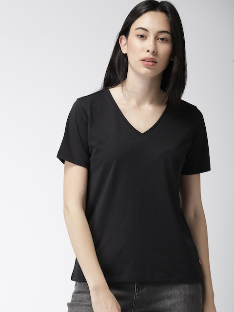 Levis Women Black Solid V-Neck T-shirt