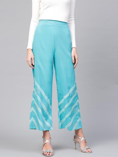 Pannkh Women Blue & White Printed Wide Leg Palazzos