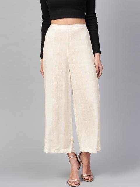 Pannkh Women Off-White & Beige Printed Wide Leg Palazzos