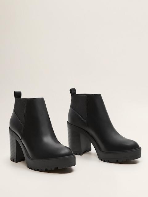 MANGO Women Black Solid Mid-Top Heeled Boots