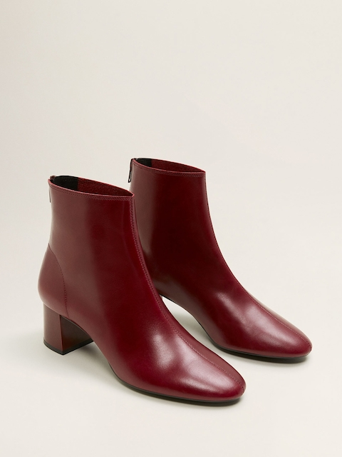 MANGO Women Maroon Leather Solid Mid-Top Heeled Boots