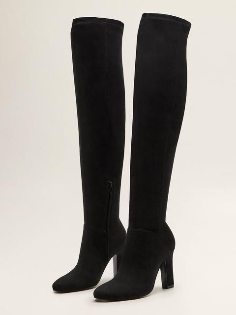 MANGO Women Black Solid High-Top Heeled Boots