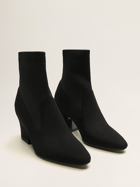 MANGO Women Black Solid Mid-Top Heeled Boots