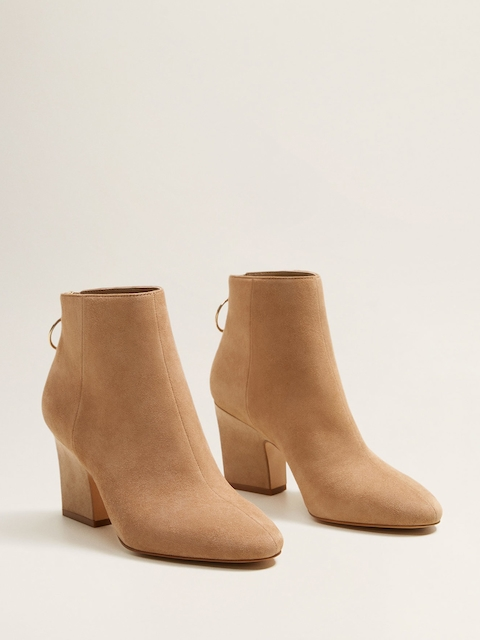 MANGO Women Camel Brown Solid Heeled Boots