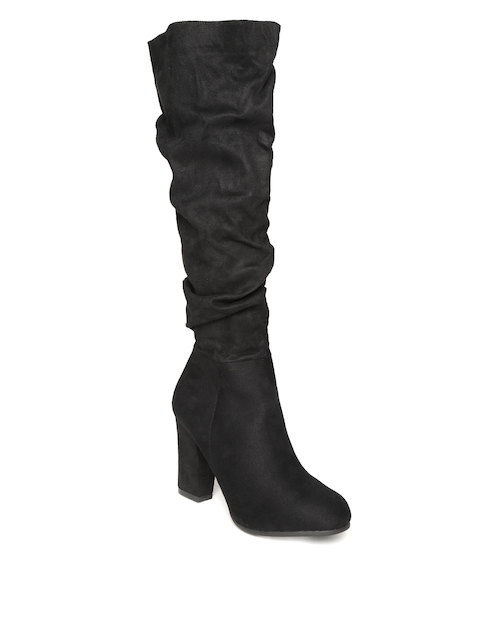 Jove Women Black Solid Heeled Boots