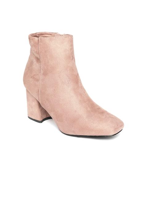 Jove Women Pink Solid Heeled Boots
