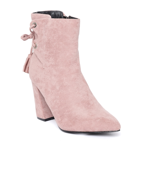 Jove Women Pink Solid Heeled Boots