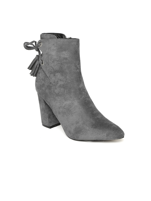 Jove Women Grey Solid Heeled Boots