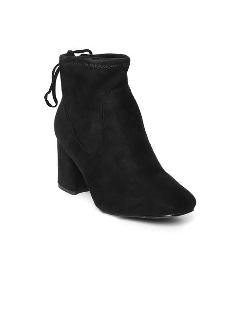 Jove Women Black Solid Mid-Top Heeled Boots