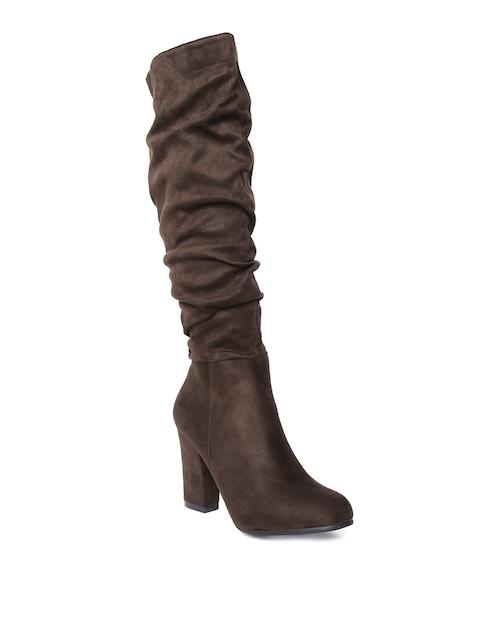 Jove Women Coffee Brown Solid High-Top Heeled Boots