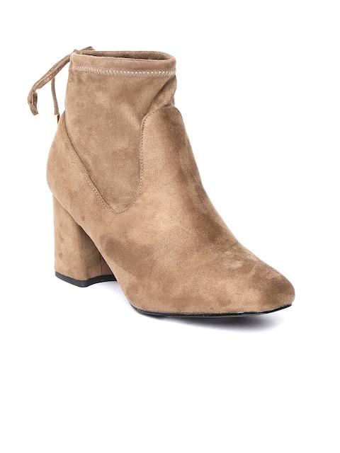 Jove Women Brown Solid Heeled Boots