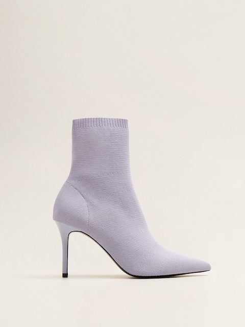 MANGO Women Lavender Solid Heeled Boots