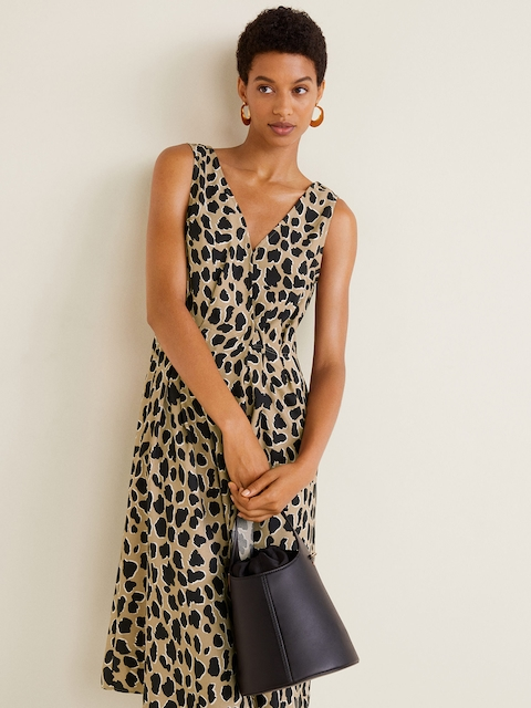 MANGO Women Beige & Black Printed A-Line Dress