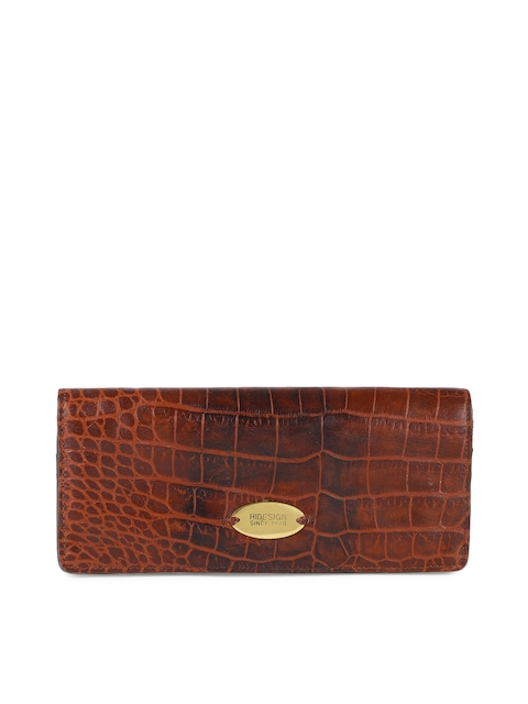 Hidesign Women Tan Brown Leather Textured Two Fold Wallet