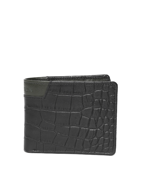 Hidesign Men Black Croc Textured Leather Two Fold Wallet