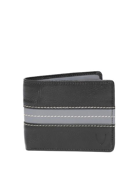 Hidesign Men Black & Grey Colourblocked Leather Two Fold Wallet