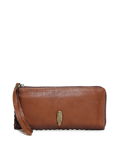 Hidesign Women Tan Solid Kiboko W1 Leather Zip Around Wallet
