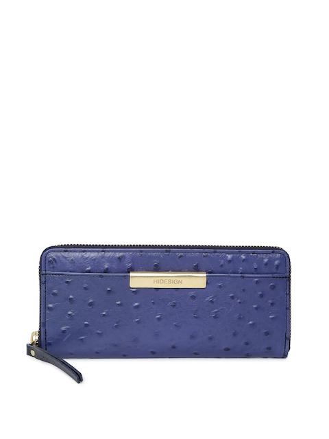Hidesign Women Blue Solid Zip Around Wallet