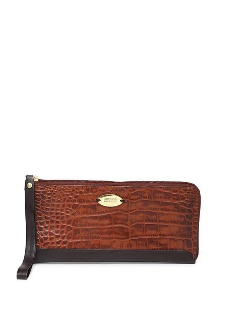 Hidesign Women Brown Leather Textured Zip Around Wallet