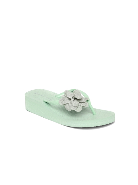 Fame Forever by Lifestyle Girls Green Solid Thong Heeled Flip-Flops