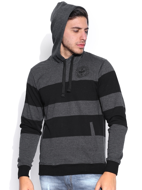 Roadster Grey & Black Striped Hooded Sweatshirt