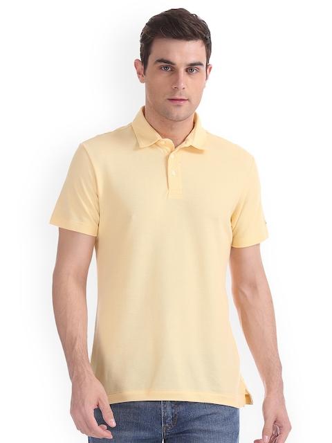 Arrow Sport Men Beige Solid Polo Collar T-shirt