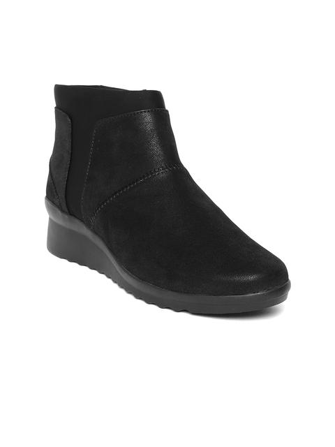 Clarks Women Black Solid Mid-Top Flat Boots