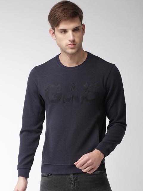 GAS Men Navy Blue Solid Round Neck T-shirt