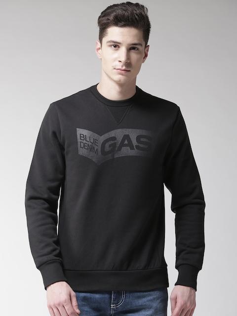 GAS Men Black Solid Sweatshirt