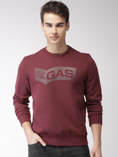 GAS Men Maroon Printed Sweatshirt