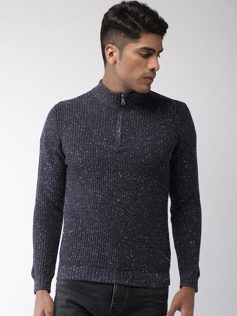 GAS Men Navy Blue Solid Sweater