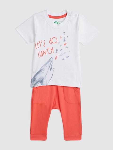 YK Organic Infant Boys White & Orange Printed Clothing Set