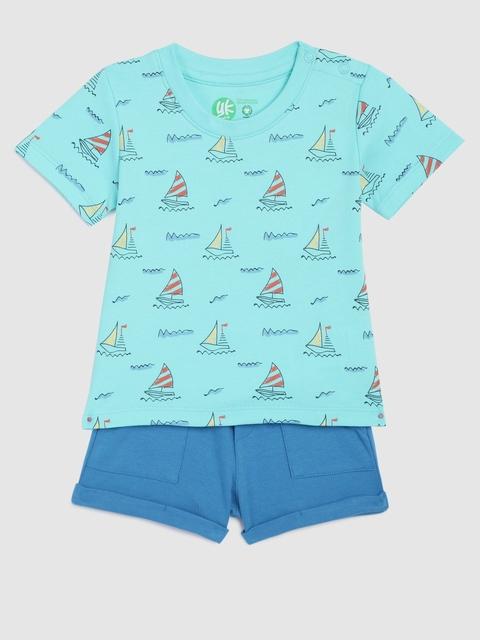 YK Organic Infant Boys Green Printed T-shirt with Blue Shorts