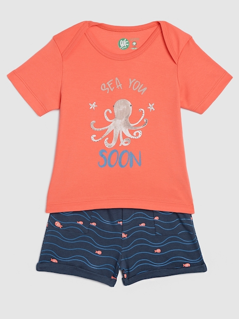 YK Organic Infant Boys Coral & Navy Blue Printed T-shirt with Shorts