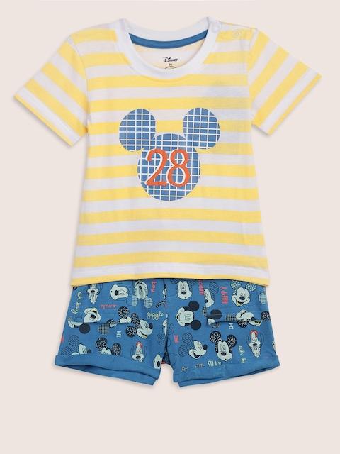 YK Disney Infant Boys Yellow & Blue Striped T-shirt with Shorts