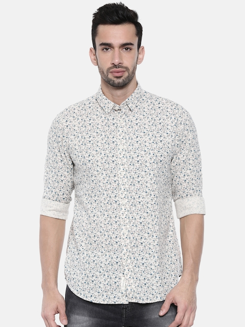 Jack & Jones Men Beige Slim Fit Printed Casual Shirt
