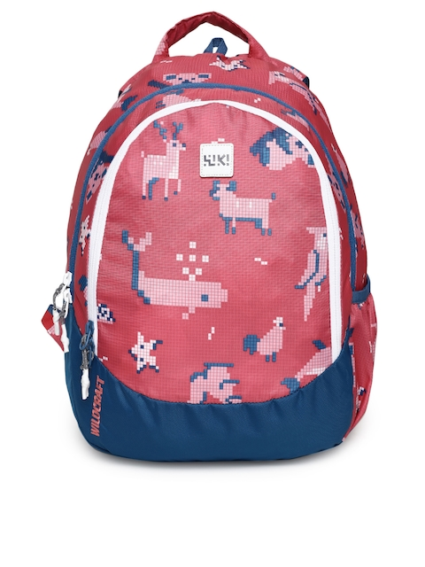 Wildcraft Unisex Red & Navy Blue Graphic Backpack